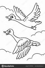 Sky Fly Cartoon Geese Coloring Clouds Flying Efengai sketch template