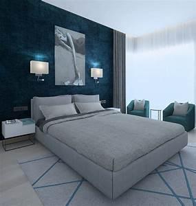 Modern, Bedroom, With, Green, Wallpaper, 3d