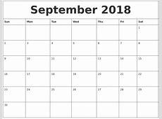 September 2018 Calendar Print Out