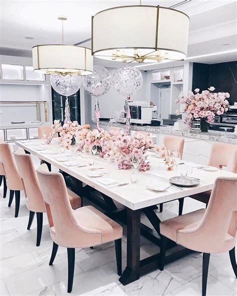 pin  glam  city  home decor luxury dining room pink dining rooms elegant dining room