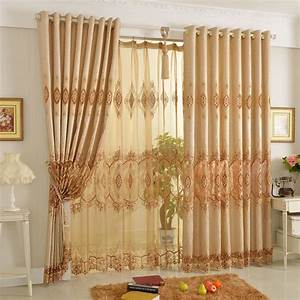 Elegant embroidered living room curtain in poly cotton for Elegant living room curtains