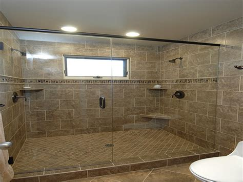 Two Shower Bathroom by Tile In The Master Bathroom With Dual Shower Heads