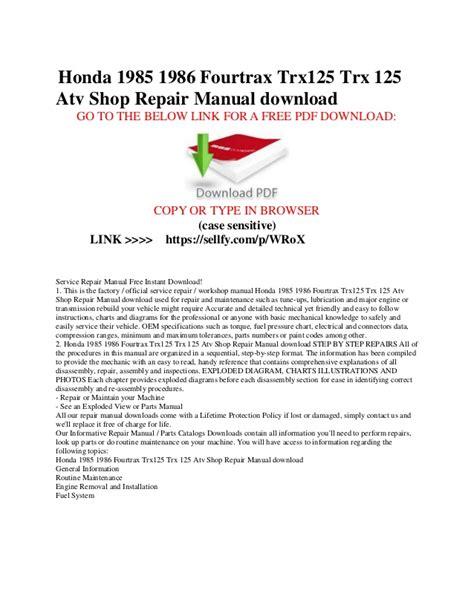 small engine repair manuals free download 1985 honda prelude windshield wipe control honda 1985 1986 fourtrax trx125 trx 125 atv shop repair manual free d