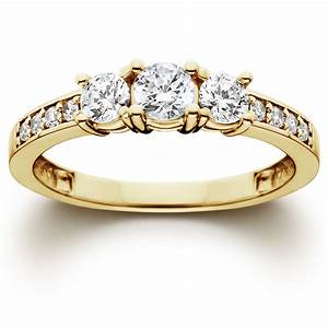 1 ct 3 stone diamond engagement ring 10k yellow gold ebay for Gold engagement and wedding rings