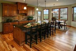Kitchen with cherry cabinets and hickory floors kitchen for Best brand of paint for kitchen cabinets with natural wood wall art