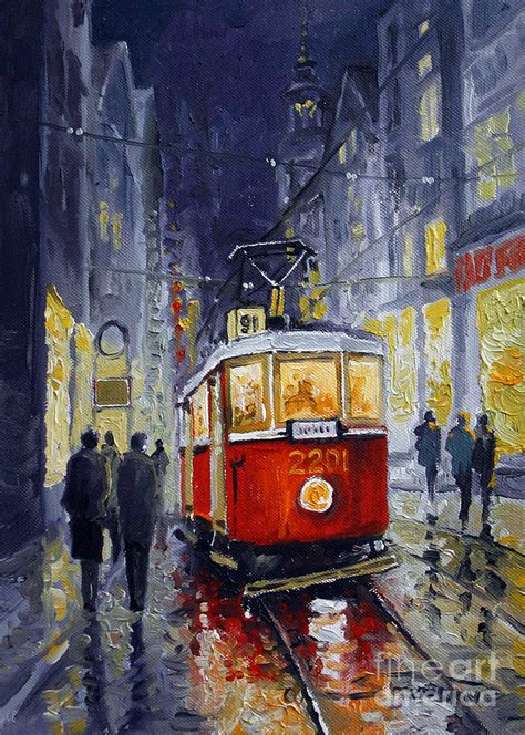 wood framed prague tram 06 painting by yuriy shevchuk