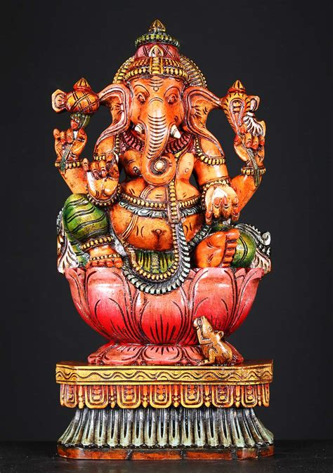 SOLD Wooden Painted Ganapathi Statue 24
