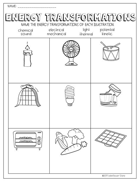 energy transformations worksheet school