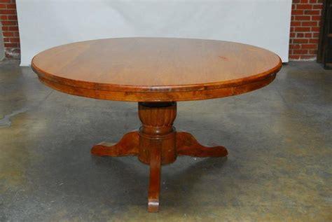 HandCarved Solid Teak Round Pedestal Dining Table For
