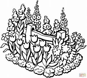 Beautiful Garden in summer coloring page | Free Printable ...