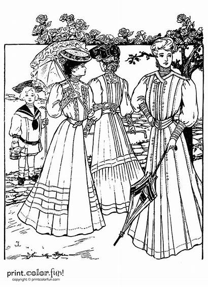 Victorian Dresses Coloring 1905 Pages Summer Adult