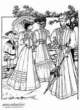 Dresses Summer Coloring 1905 Fun Printables Victorian Ladies Printcolorfun Edwardian Era Guardado Desde sketch template