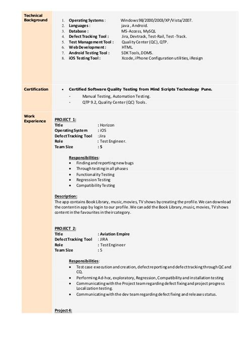 Manual Testing Sle Resume For 2 Years Experience by Testing Resume 100 Images The Beginner S Guide To