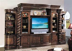 Distressed cherry finish traditional entertainment wall unit for Traditional wall units