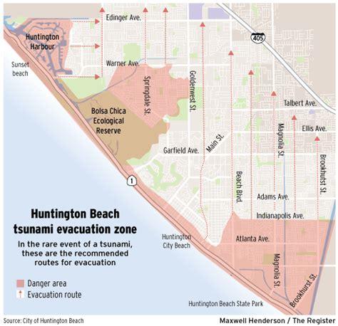 huntington beach reworks tsunami evacuation map orange