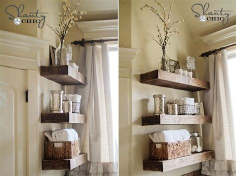 diy bathroom shelves  increase  storage space