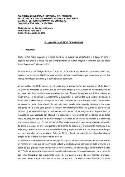 La Peste Resumen Corto by Resumen El Hombre De Babilonia