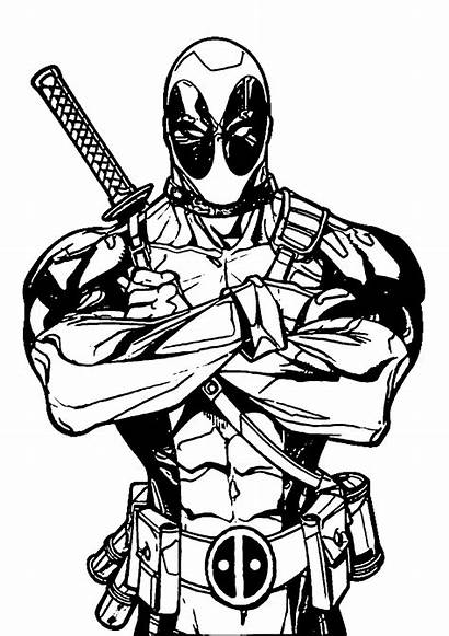 Deadpool Marvel Coloring Pages Drawing Drawings Superhero