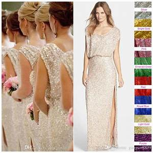 sequins rose gold long bridesmaid dresses plus size split With plus size sparkly wedding dresses