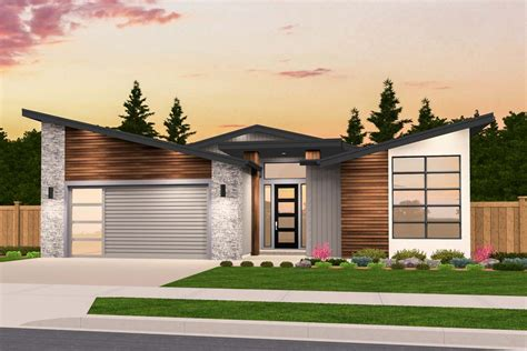 Exclusive One Story Modern House Plan With Open Layout