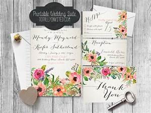 printable wedding invitation suite watercolor flowers With free printable spring wedding invitations