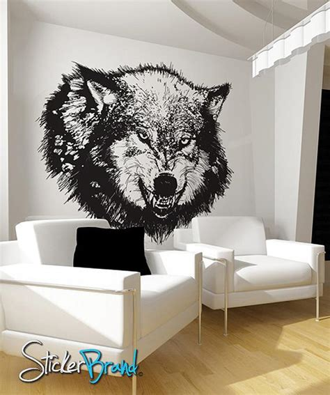 vinyl wall decal sticker angry wolf
