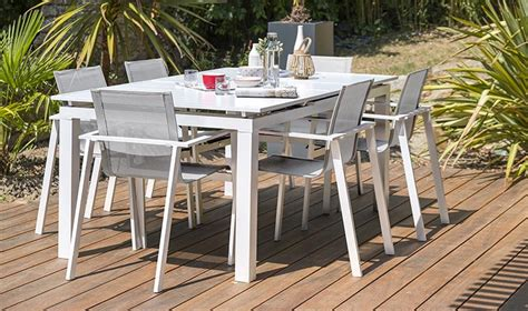 table de jardin extensible blanche en aluminium cm