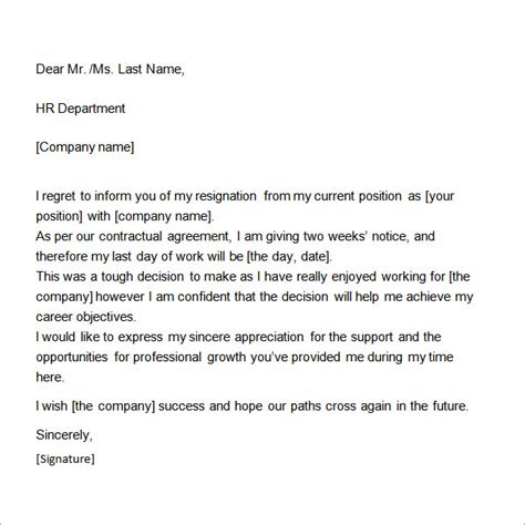 Two Week Notice Template Two Weeks Notice Letter 12 Free Documents In Word