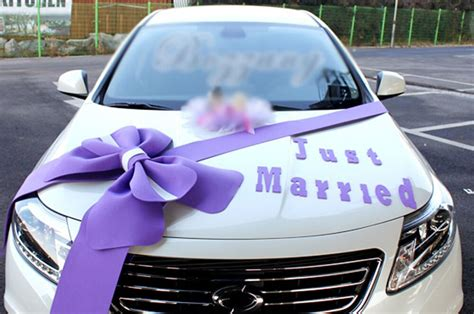 wedding car decorations kit big ribbons purple bows letter banner decorations ebay
