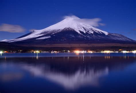 night view  mount fuji  japan hd desktop wallpaper