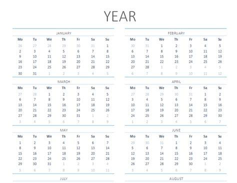 year calendar mon sun