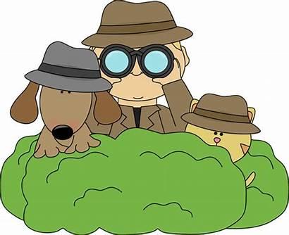 Detective Clip Detectives Dog Cat Clipart Bushes