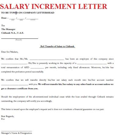 write salary increment letter  company