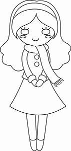 Cute Girl Colorable Line Art - Free Clip Art