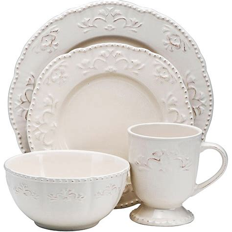 better homes and gardens dinnerware better homes and gardens medallion wreath 16 piece dinnerware set cream mist kitchen dining