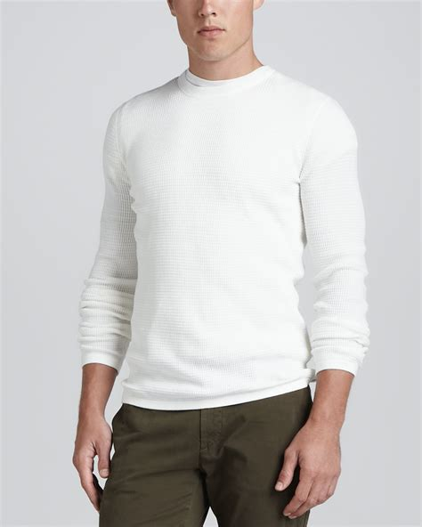 sleeve sweater mens vince sleeve thermal sweater white in white for
