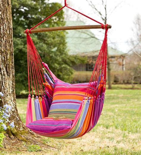 pink striped cotton hammock chair swing swings hammocks