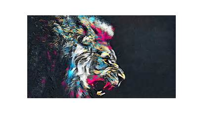 Lion Colorful Abstract Animal Roar Wallpapers 4k
