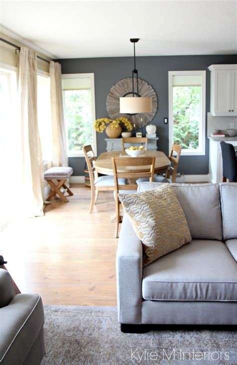 modern country  farmhouse style open concept dining room  living room  gray  warm
