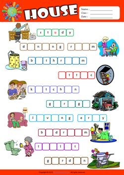 parts   house esl printable worksheets  kids