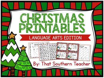 christmas printables language arts edition by that southern teacher