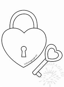 Heart shaped padlock and key – Coloring Page
