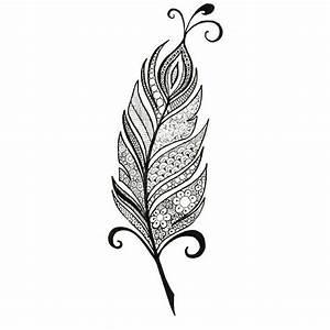 Black Peacock Feather Tattoo Design