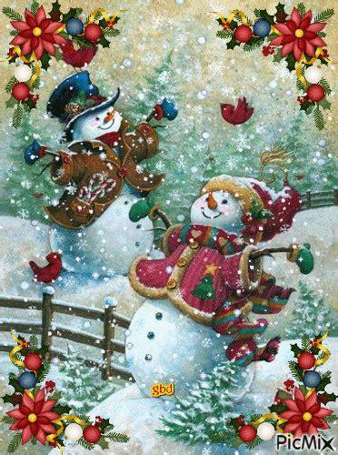 joyful christmas snowman gifs