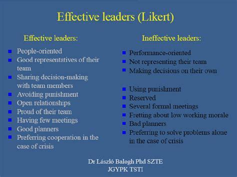 comparison  effective  ineffective leaders