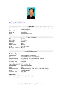 template resume bahasa melayu my resume