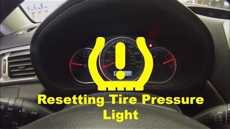 resetting  tire pressure light youtube