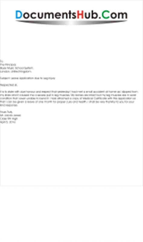 leave application due  leg injury documentshubcom