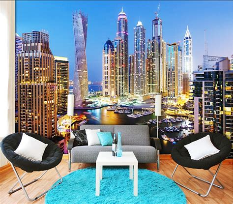 Living Room Wallpaper City by Custom 3d Mural Dubai Wallpaper Living Room