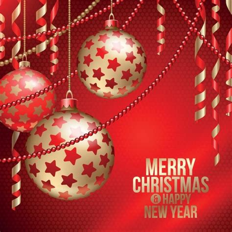 Check out more christmas at: Free vector red merry christmas and happy new year poster ...